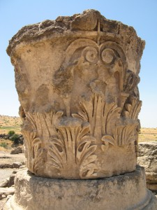 Corinthian capital at the temple at Omrit
