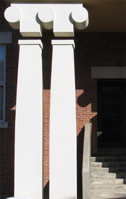 "The ""Ironic"" columns of Lawrence Hall, home of the Art History Department. Designed by Charles Moore, 1986."
